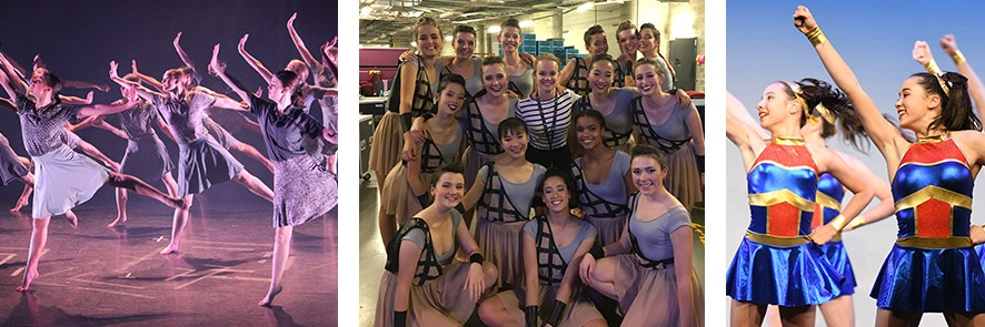 Three photos consisting of contemporary dance group performing at the Sydney North Dance Festival in 2018, girls are wearing plain blue grey skirt with a patterned top or vica versa with arms spread and left leg kicked back, the second photo is Students backstage at Schools Spectacular 2018 in full costume and makeup and the third photo is the Jazz Ensemble performing at Sydney Eisteddfod in 2017 with girls wearing a wonderwoman style outfit
