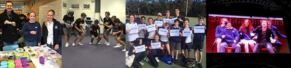 Collage of Year 7, 8, 9 and 10 PDHPE. Year 7 with nutritional food display, Year 8 participating in movement composition, Year 9 PASS holding certificates and Year 10 students performing on stage  at BStreet smart course