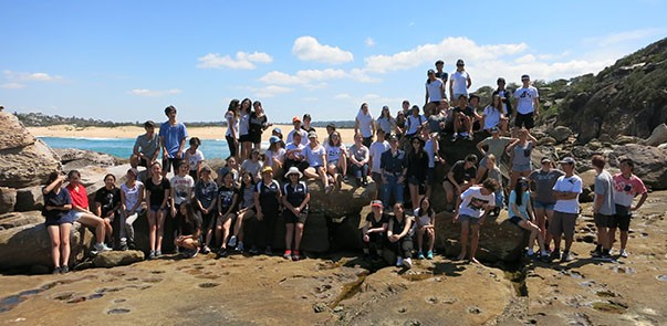 Year 11 science students on an excursion to a rock platform