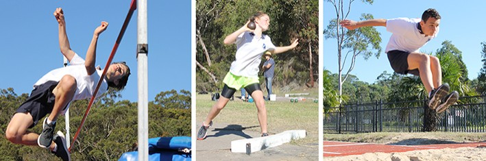 3 photos, students at Athletic carnival in action shots, high jump, shot put and long jump