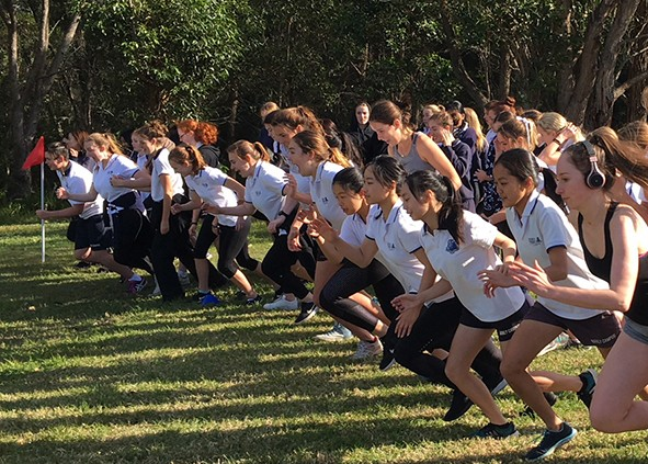 Girls cross country, at the start line
