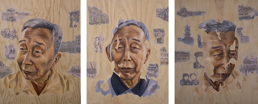 Series of 3 portrait paintings of a man by Y12 2018 HSC student