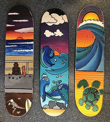 Skateboard artworks by three Year 8 2018 students