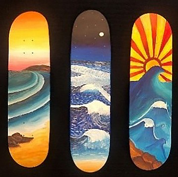 Skateboard artworks by three Year 8 2019 students