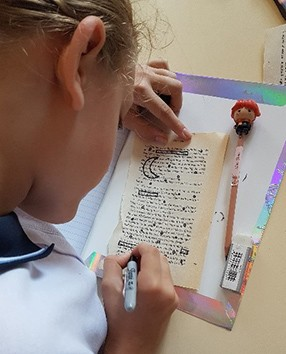 Year 8 English student working on a poetry exercise
