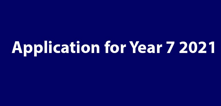 Title of News - Application for Year 7 2021 on Navy blue background