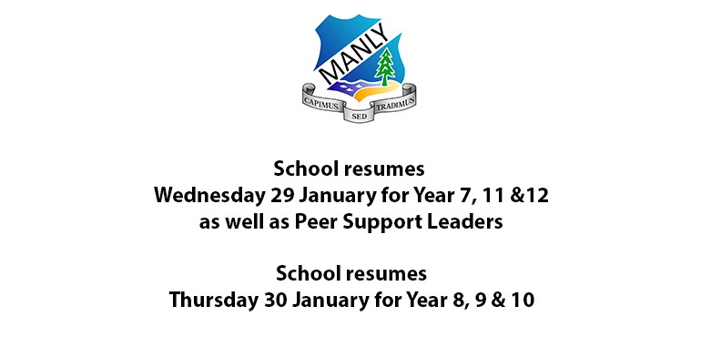 School resumes 28 Jan for Y7, 11 and 12 and Peer Support Leaders and 29 Jan for 8, 9 and 10